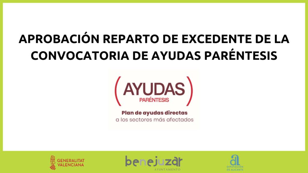 APROBACIÓN REPARTO DE EXCEDENTE DE LA CONVOCATORIA DE AYUDAS PARÉNTESIS