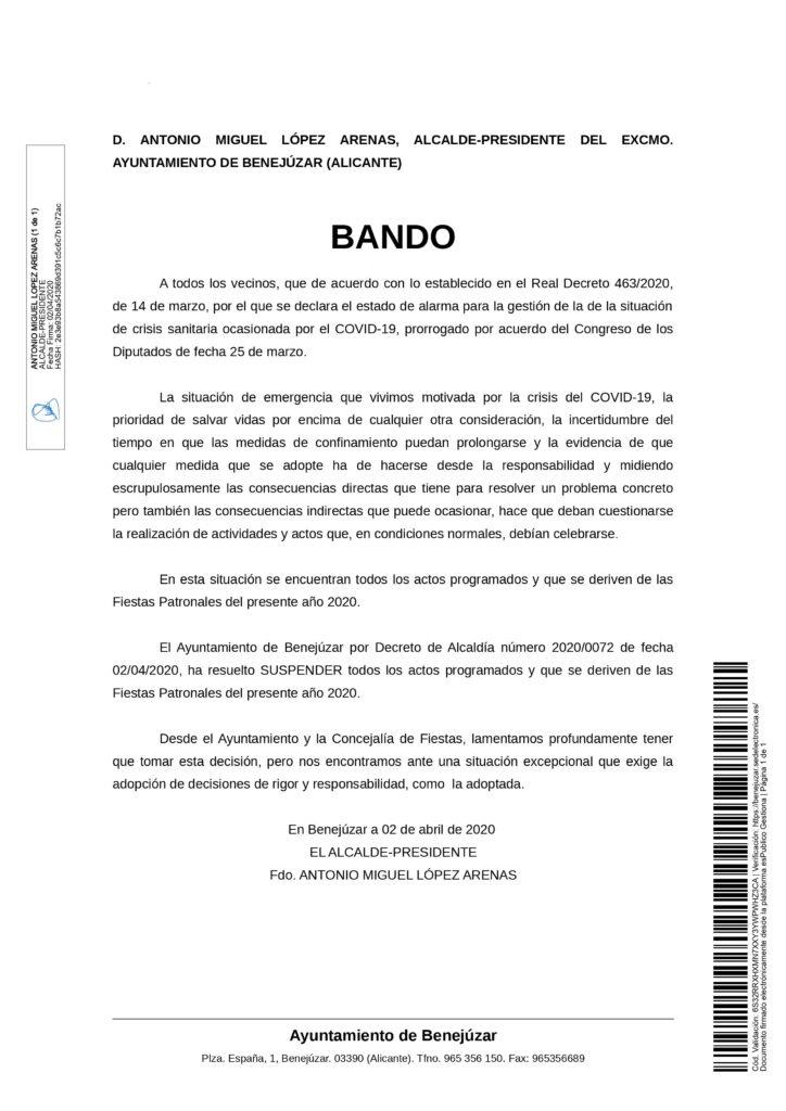 Bando de alcaldía sobre cancelación de fiestas de Benejúzar
