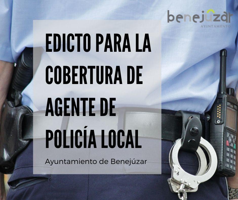 edicto para la cobertura de agente de policía local